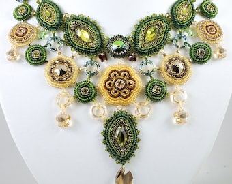 Forest Song Necklace Swarovski - B.O.T.B 13, Bead Embroidered Bib Style Necklace, Free Shipping, OOAK