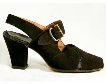 Size 6 40s Shoes - Chocolate Suede Peep-Toe Slingback - 6AA 1940s Shoe - Pumps - Deadstock - Fall - Mint Condition - Sophisticated - 40322-1