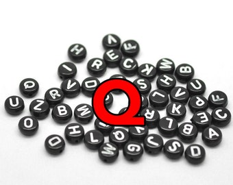 Q Black Alphabet Beads with white letters 7mm round flat 3000 pcs