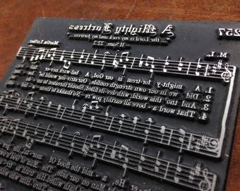 Platted electrotype music hymn (Great for scrapbooking) - A Mighty Fortress