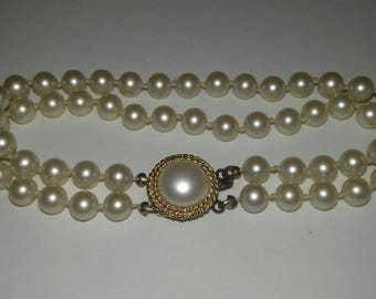Faux pearl 2 strand bracelet