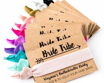 Bride Tribe Hair Tie Favors   CHOOSE YOUR COLORS, Boho Bachelorette Party Hair Tie Favors, Custom Hair Tie Favors, Personalized Bach Favors