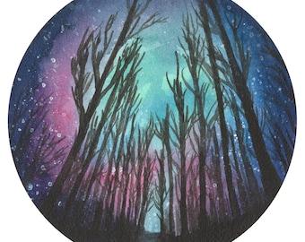 "Print of original watercolor of ""Sleepless Nights 2"", starry sky circular painting"