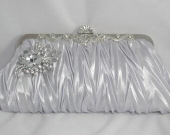 Silver Evening Clutch, Silver Bridal Handbag, Satin Silver Crystal Bridesmaid Clutch, Silver Wedding Accessories, Swarovski Crystal Clutch