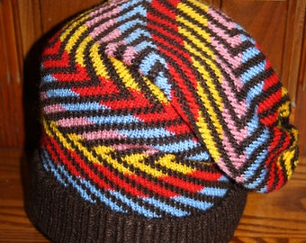 Hand Made Knitted Slouch Hat, With or with out Pom Acrylic Winter Novelty Hat, Multi Coloured Stripped, Rasta, Hippy