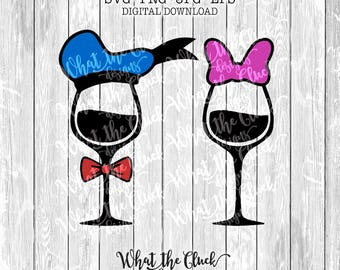 Donald and Daisy Wine Glasses Digital File Download