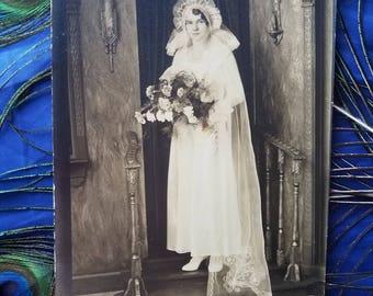 "Vintage Wedding Photo Sepia Tone 5""x7""  BRIDE"