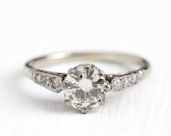 Sale - Antique Engagement Ring - 18k White Gold Art Deco .83 CTW Diamond - Sz 5.25 1920s Vintage Filigree Bridal Wedding Jewelry w Appraisal