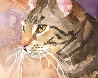Tabby Cat Art Print of Original Watercolor Painting - 8x10