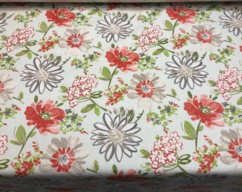Home Essentials Decor 45'' Breeze Mclorelei Red Flower Fabric By The Yard