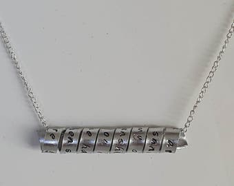 Hidden Message | Mothers Day | Personalised Necklace | Secret Message | Name | Dates | Place | spiral scroll necklace | silver | gold |