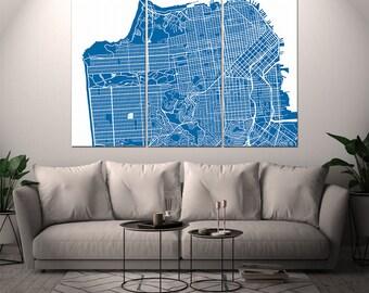 San Francisco California / City Map / Canvas Print / Wall Art / Large 3, 5 or 6 panel