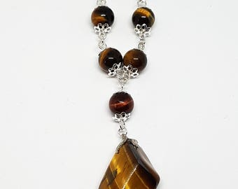 Brown Tiger's eye vintage pendant-Tiger's eye beads- 18 inch chain necklace