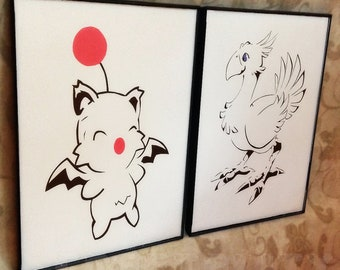Final Fantasy Chocobo and Moogle Framed Papercut Set
