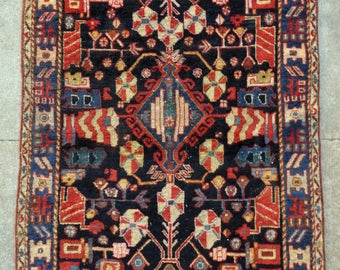 Antique Persian Bakhtiari Tribal rug -  4'0 x 6'6 - 121 x 198 cm. - Free shipping!