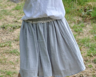 Girls Skirt - Grey Linen, Twirl Skirt, Childrens Clothing, Kids Fashion, Hand Made, Party Clothes, Linen skirt, Natural skirt, Party Skirt
