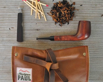 Tan Pipe Pouch with Tobacco Pocket - Leather