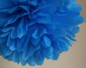 Pacific Blue Tissue Paper Pom, Pacific Blue Pom, Blue Tissue Paper Pom Pom, Blue Paper Flower, Tissue Flower, Wedding and Birthday Decor