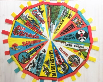 vintage wholesale lot of travel souvenir felt pennants / diy bunting kit / diy banner kit / 14 pieces / bulk discount small gifts