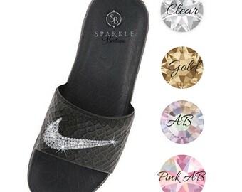 Nike Benassi Solarsoft Slides - Bling Sandals - Crystal Nikes - Size 10 - Ready To Ship - Bling Slides - SparkleBoutique2U