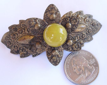 Antique Victorian Brooch, Stamped Metal and Art Glass Pin, Vintage Embossed Flower Pin