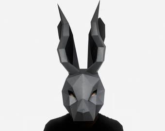 Jackalope Mask, DIY printable Rabbit animal Mask, Instant Pdf download,  3D Polygon Masks, Printable Mask