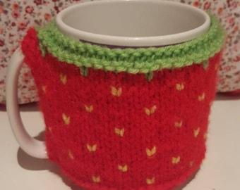 Knitted strawberry mug cosy, mug cozy, handmade mug cover, cup cozy, novelty item, coffee cosy, house-warming gift, mug warmer, mug hug