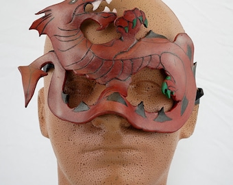 Fire Storm the Dragon hand crafted leather mask