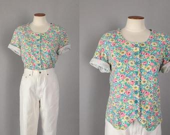 Vintage 1990s pastel floral button down short sleeve top / 90s shirt blouse / small S medium M