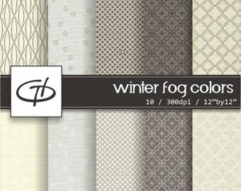Winter Fog Colors Digital Paper: high quality printable paper set, simple design, canvas texture