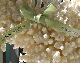 "Personalized Favor Ribbon, Double Faced Satin, 3/8"", Wedding, Party, Events, Birthday - 50 Pieces"