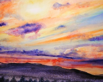Mountain Sunset Art, mountain sunset, sunset art, sunset wall art, mountain sunset painting, sunset original painting, sunset wall decor