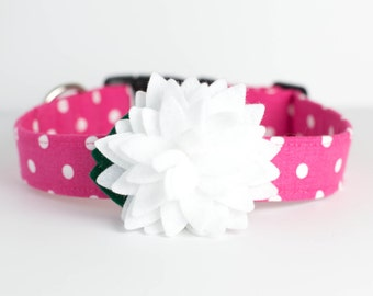 Spring Summer Dog Collar with Flower - Pink & White Polka Dots