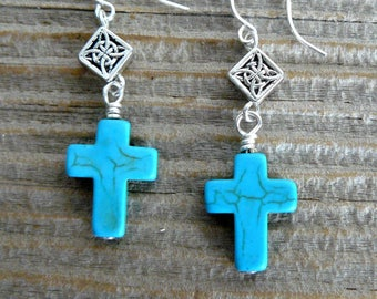 Turquoise Cross Earrings, Turquoise and Silver Dangles, Boho Style Earrings, Southwestern Jewelry, Gift for Her Under 20