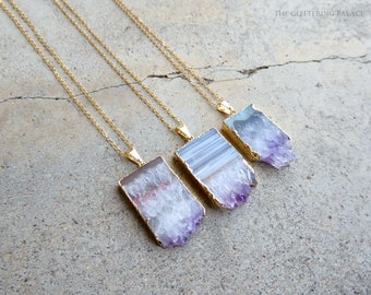 February birthstone amethyst slice necklace raw amethyst jewellery amethyst slice necklace raw amethyst jewellery rough cut amethyst pendant february birthstone aloadofball Image collections