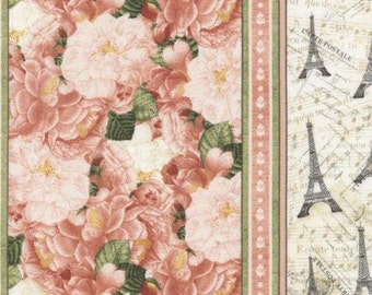 Timeless Treasures: Bonjour Mon Amour - Jessica pink and white Stripe floral with Eiffel Tower  100% cotton Fabric by the yard TT243