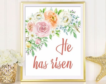 Easter art print He has risen Easter art printable Matthew 28:6 He is risen Easter poster watercolor Easter wall art Bible verse Easter sign