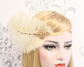 1920s Gold Flapper Headpiece   Roaring 20s Gatsby headpiece Ivory Gatsby feather flapper headband Gatsby dress Bachelorette Hen Party