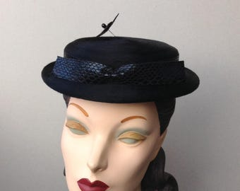 Black Fur Felt Boater with Faux Snakeskin Bow and Matching Hat Pin