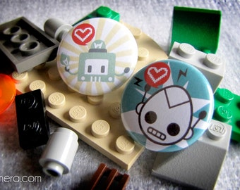 "Cute robots 1"" Pins! 2 models available!"