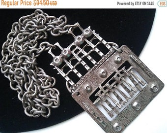 ON SALE Vintage Bib Necklace 1960's Steampunk Goth Style Mid Century Collectible Jewelry Retro Rockabilly Mad Men Mod Statement Runway Jewel