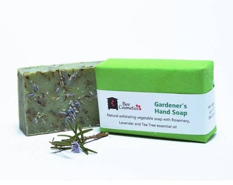 Gardener's Hand Soap. Cleansing cold pressed soap with Rosemary, lavender and tea tree essential oils