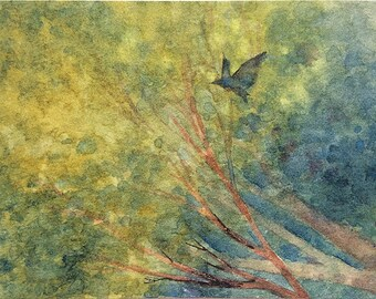 Original watercolor ACEO painting - Stealth flight