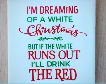 White Christmas Coaster - Wine Christmas Coaster - White Wine Christmas Coaster - Red Wine Christmas Coaster