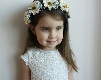 White Ivory flower crown,Flower girl crown, Toddler flower crown,Rustic Baby headband,Baby flower crown,Baby flower headpiece,Wedding Crown