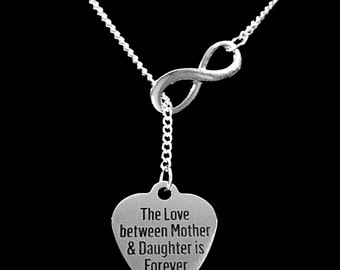 Gift For Her, Mom Gift, The Love Between Mother And Daughter Is Forever, Mom Gift Infinity Lariat Necklace