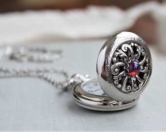 Dragons Breath Mexican Fire Opal Pocket Watch Necklace