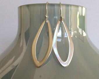 Sterling Silver Elliptical Earrings, Eternal Love, Drop Earrings, Minimalist Silver Earrings, Simple Silver Earrings,