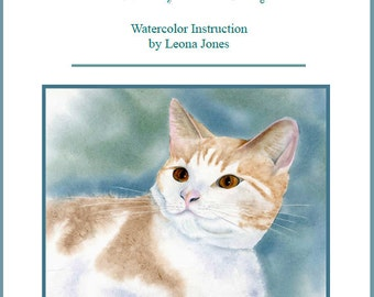 "Tutorial  Painting of ""Max The Cat"" How to Paint a Cat in Watercolor   Instant Download"
