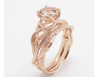 Branch Morganite Engagement Ring Set 14K Rose Gold Morganite Rings Unique Twig Matching Rings